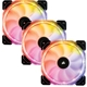Set 3 ventilatoare 120mm Corsair HD120 RGB LED High Performance PWM, controler inclus