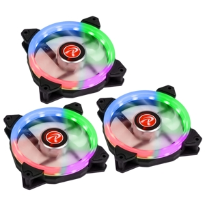 Set 3 ventilatoare 120 mm Raijintek IRIS 12 Rainbow RGB LED