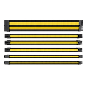 Set cabluri prelungitoare Thermaltake TtMod Sleeve Cable Kit, cleme incluse, 300mm, Black / Yellow