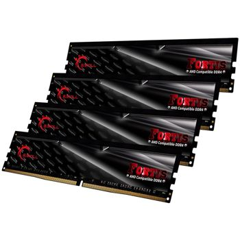 Memorie G.Skill Fortis Black 32GB (4x8GB) DDR4 2400MHz CL15 1.2V AMD Ryzen Ready Dual Channel Quad Kit, F4-2400C15Q-32GFT