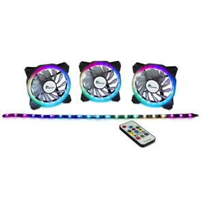 Set 3 ventilatoare 120mm Inter-Tech Argus RS03 RGB + banda LED, controller si telecomanda incluse