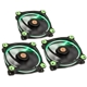 Set 3 ventilatoare 120 mm Thermaltake Riing 12 High Static Pressure Green LED Radiator Fan