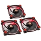 Set 3 ventilatoare 120 mm Thermaltake Riing 12 High Static Pressure Red LED Radiator Fan